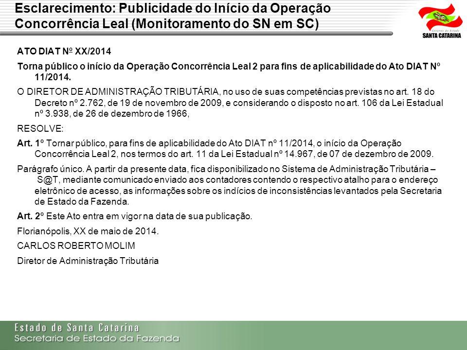 Esclarecimento: Publicidade do Início da Operação Concorrência Leal (Monitoramento do SN em SC) ATO DIAT Nº XX/2014 Torna público o início da Operação