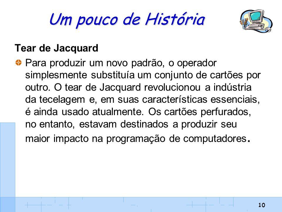 10 Um pouco de História Tear de Jacquard Para produzir um novo padrão, o operador simplesmente substituía um conjunto de cartões por outro. O tear de