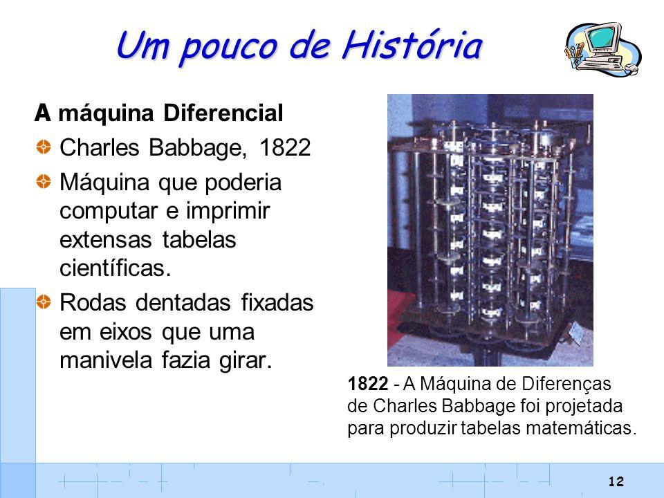 12 Um pouco de História A máquina Diferencial Charles Babbage, 1822 Máquina que poderia computar e imprimir extensas tabelas científicas. Rodas dentad