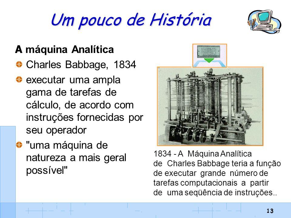 13 Um pouco de História A máquina Analítica Charles Babbage, 1834 executar uma ampla gama de tarefas de cálculo, de acordo com instruções fornecidas p