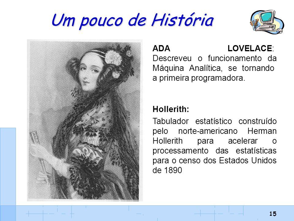 15 Um pouco de História ADA LOVELACE: Descreveu o funcionamento da Máquina Analítica, se tornando a primeira programadora. Hollerith: Tabulador estatí