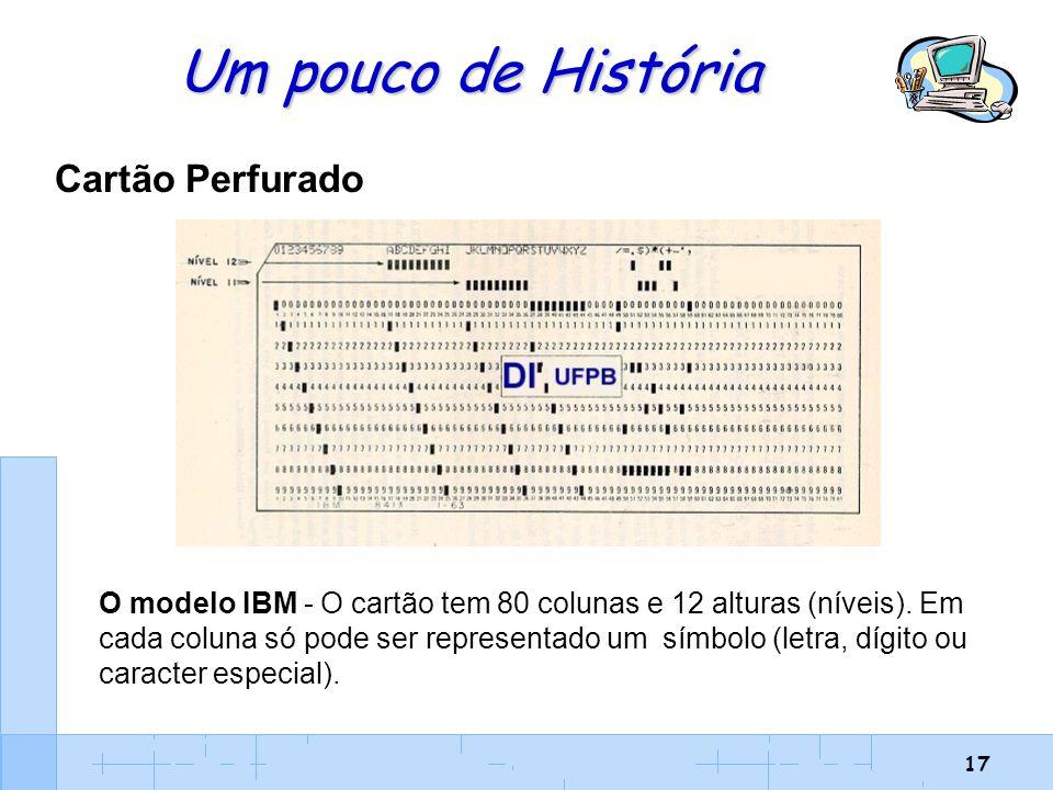 17 Um pouco de História Cartão Perfurado O modelo IBM - O cartão tem 80 colunas e 12 alturas (níveis). Em cada coluna só pode ser representado um símb