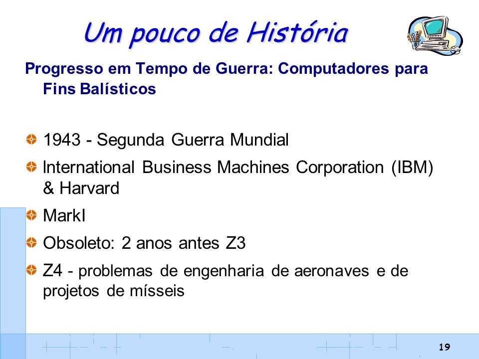 19 Um pouco de História Progresso em Tempo de Guerra: Computadores para Fins Balísticos 1943 - Segunda Guerra Mundial lnternational Business Machines