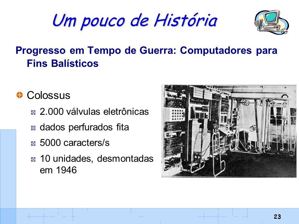 23 Um pouco de História Progresso em Tempo de Guerra: Computadores para Fins Balísticos Colossus 2.000 válvulas eletrônicas dados perfurados fita 5000