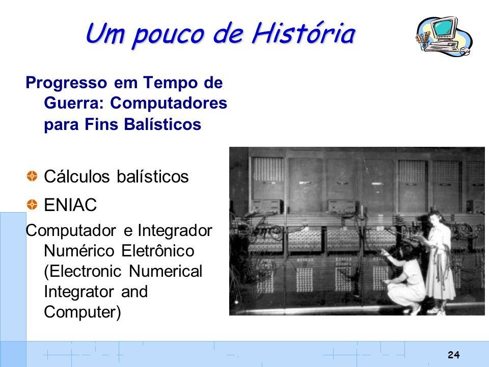 24 Um pouco de História Progresso em Tempo de Guerra: Computadores para Fins Balísticos Cálculos balísticos ENIAC Computador e Integrador Numérico Ele