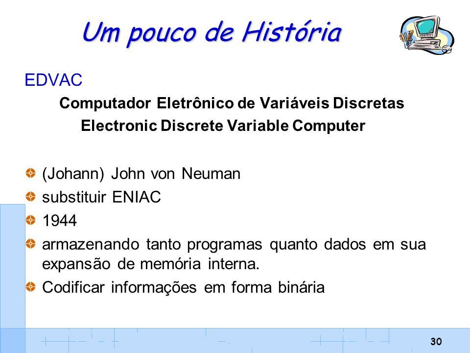 30 Um pouco de História EDVAC Computador Eletrônico de Variáveis Discretas Electronic Discrete Variable Computer (Johann) John von Neuman substituir E
