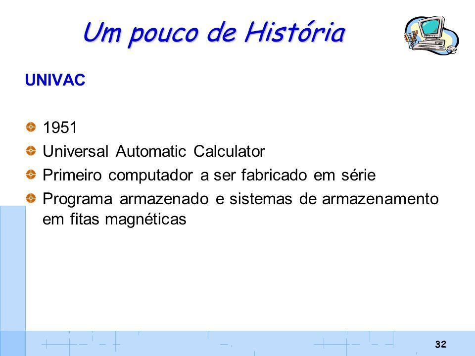 32 Um pouco de História UNIVAC 1951 Universal Automatic Calculator Primeiro computador a ser fabricado em série Programa armazenado e sistemas de arma