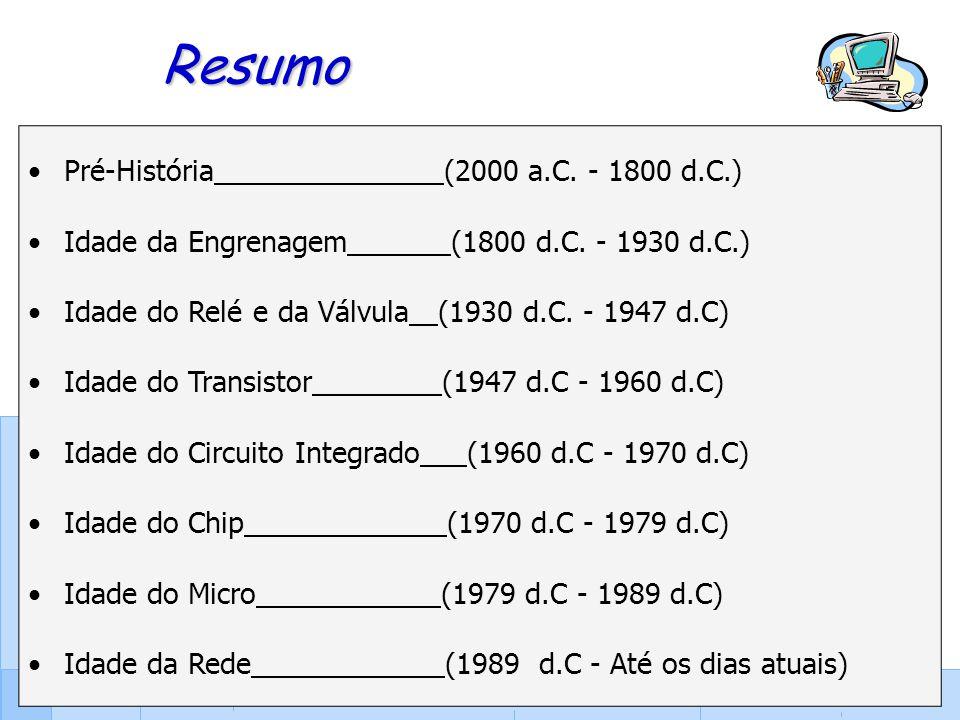 33 Resumo Pré-História (2000 a.C. - 1800 d.C.) Idade da Engrenagem (1800 d.C. - 1930 d.C.) Idade do Relé e da Válvula (1930 d.C. - 1947 d.C) Idade do