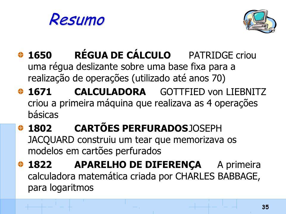 35 Resumo 1650RÉGUA DE CÁLCULOPATRIDGE criou uma régua deslizante sobre uma base fixa para a realização de operações (utilizado até anos 70) 1671CALCU