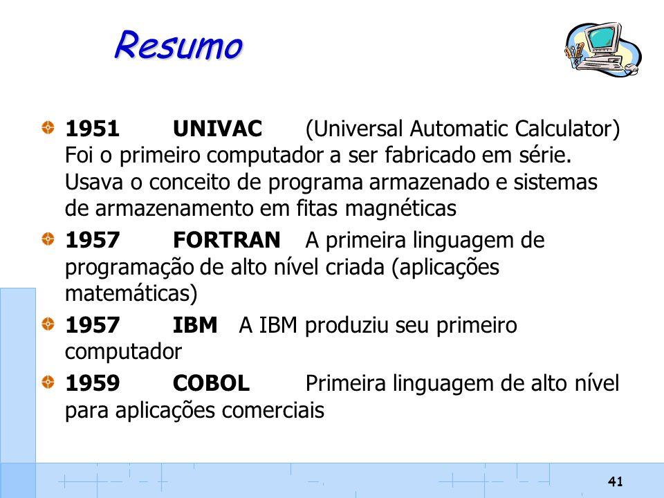 41 Resumo 1951UNIVAC(Universal Automatic Calculator) Foi o primeiro computador a ser fabricado em série. Usava o conceito de programa armazenado e sis