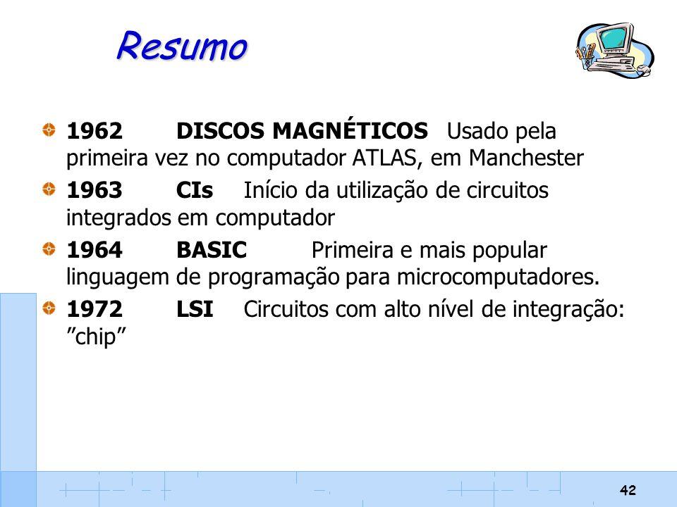 42 Resumo 1962DISCOS MAGNÉTICOSUsado pela primeira vez no computador ATLAS, em Manchester 1963CIsInício da utilização de circuitos integrados em compu