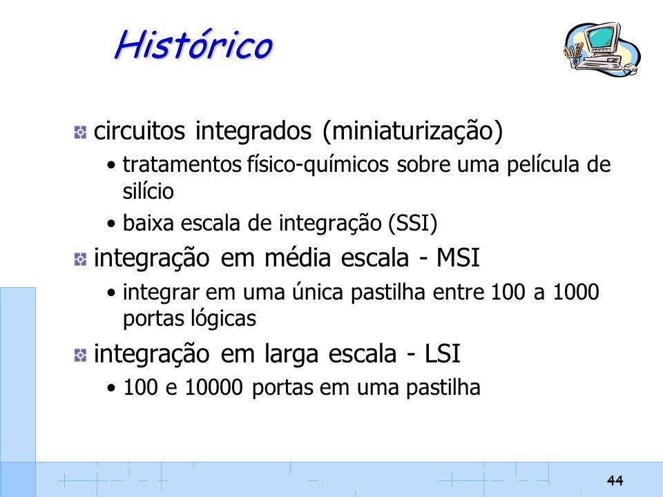 44 Histórico circuitos integrados (miniaturização) tratamentos físico-químicos sobre uma película de silício baixa escala de integração (SSI) integraç