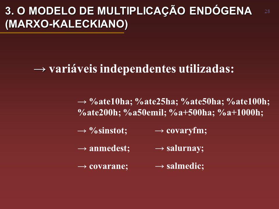 28 → → variáveis independentes utilizadas: → %ate10ha; %ate25ha; %ate50ha; %ate100h; %ate200h; %a50emil; %a+500ha; %a+1000h; → %sinstot; → anmedest; → covarane; → covaryfm; → salurnay; → salmedic; 3.