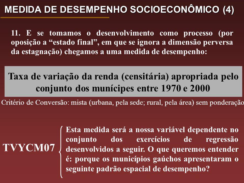 Taxa de variação da renda (censitária) apropriada pelo conjunto dos munícipes entre 1970 e 2000 Esta medida será a nossa variável dependente no conjunto dos exercícios de regressão desenvolvidos a seguir.
