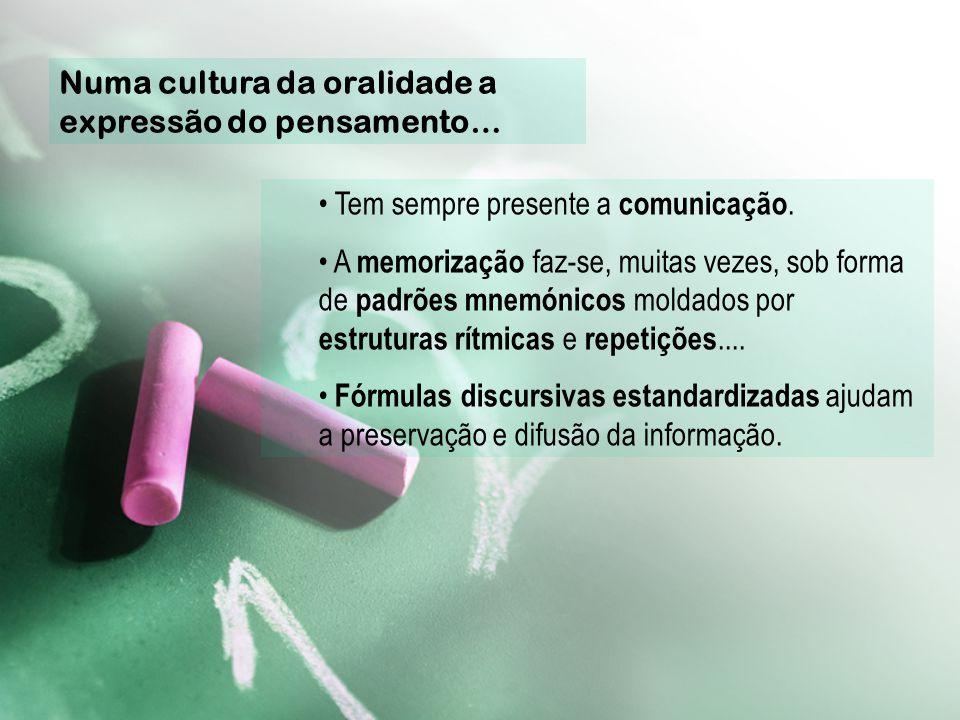 I - Aspectos Caracterizadores da Cultura Oral Primária As sociedades imersas na cultura escrita apenas com grande esforço conseguem imaginar as formas