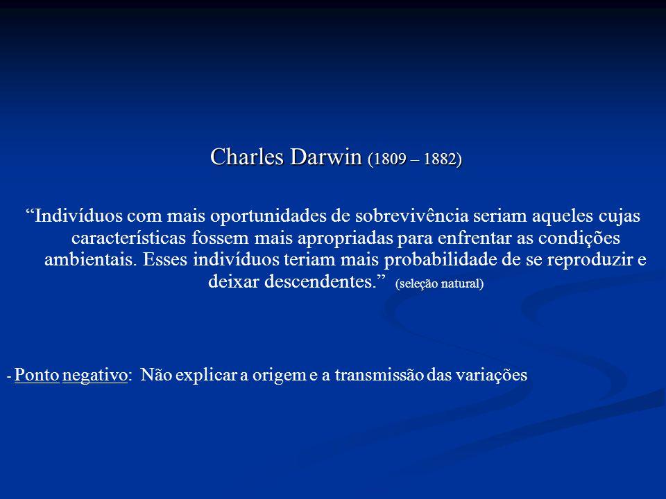 """Charles Darwin (1809 – 1882) """"Indivíduos com mais oportunidades de sobrevivência seriam aqueles cujas características fossem mais apropriadas para enf"""