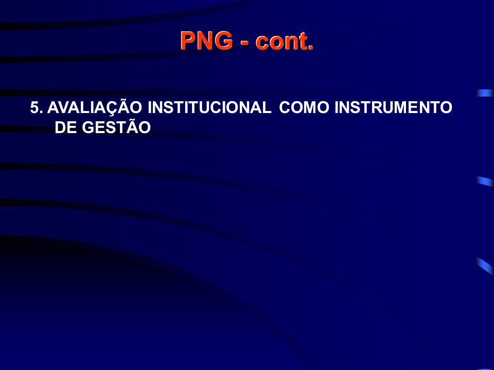 PNG - cont. 5. AVALIAÇÃO INSTITUCIONAL COMO INSTRUMENTO DE GESTÃO
