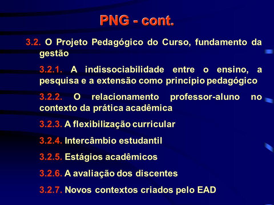 PNG - cont. 3.2. O Projeto Pedagógico do Curso, fundamento da gestão 3.2.1.