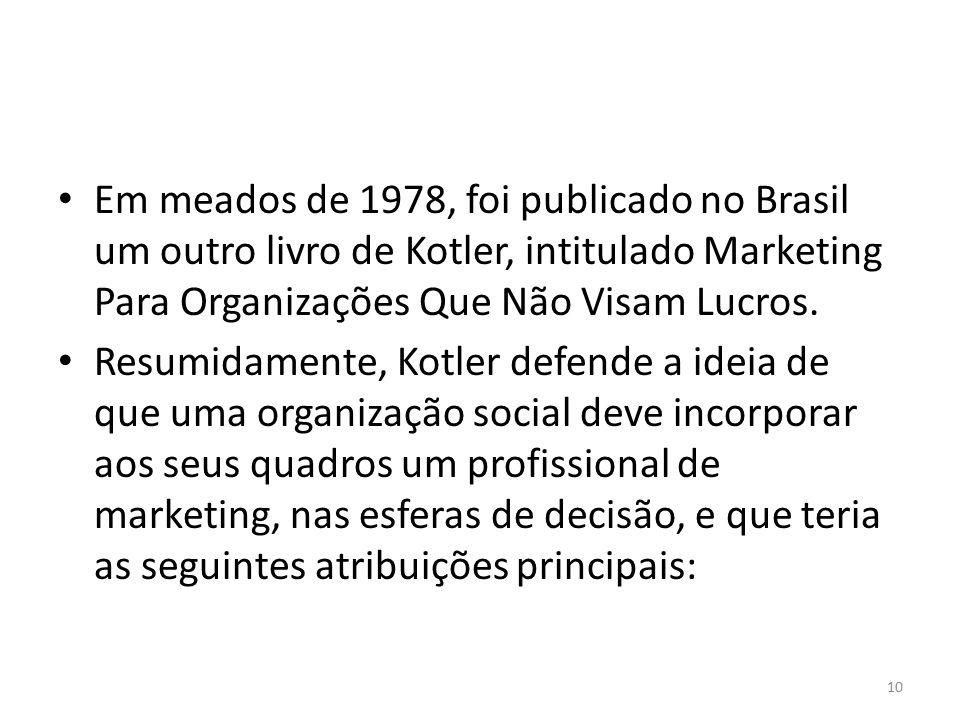 Em meados de 1978, foi publicado no Brasil um outro livro de Kotler, intitulado Marketing Para Organizações Que Não Visam Lucros. Resumidamente, Kotle