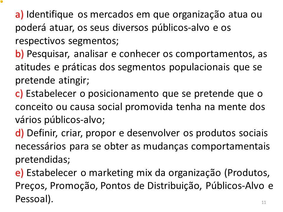 a) a) Identifique os mercados em que organização atua ou poderá atuar, os seus diversos públicos-alvo e os respectivos segmentos; b) b) Pesquisar, ana