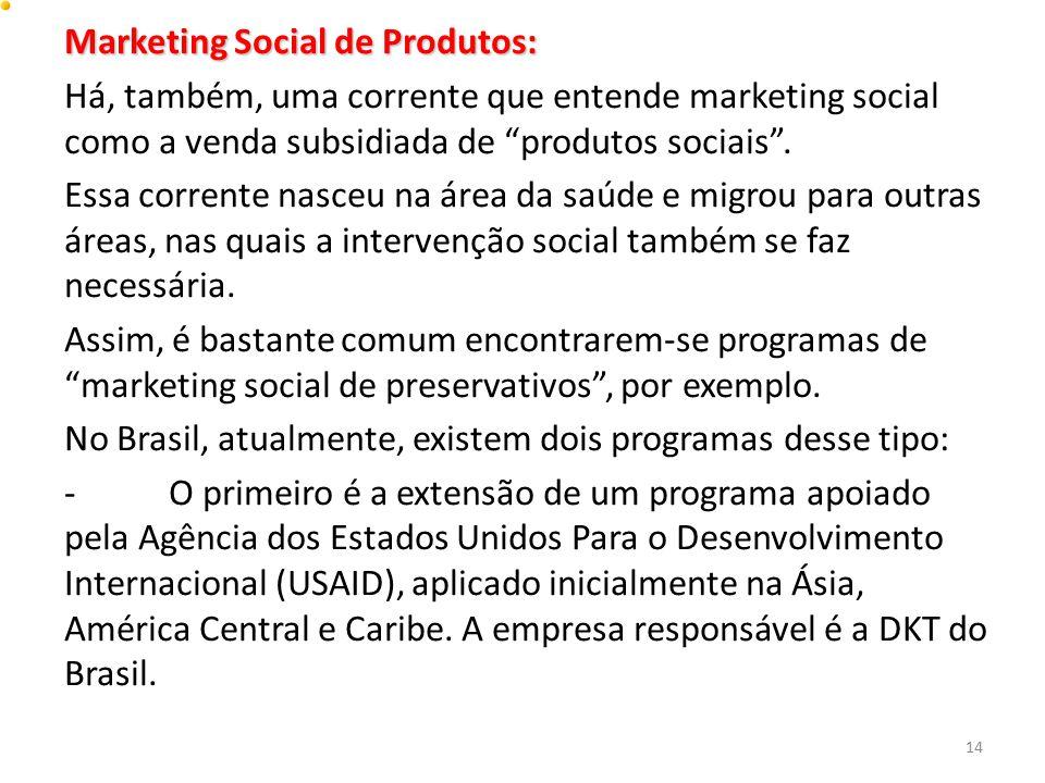 """Marketing Social de Produtos: Há, também, uma corrente que entende marketing social como a venda subsidiada de """"produtos sociais"""". Essa corrente nasce"""