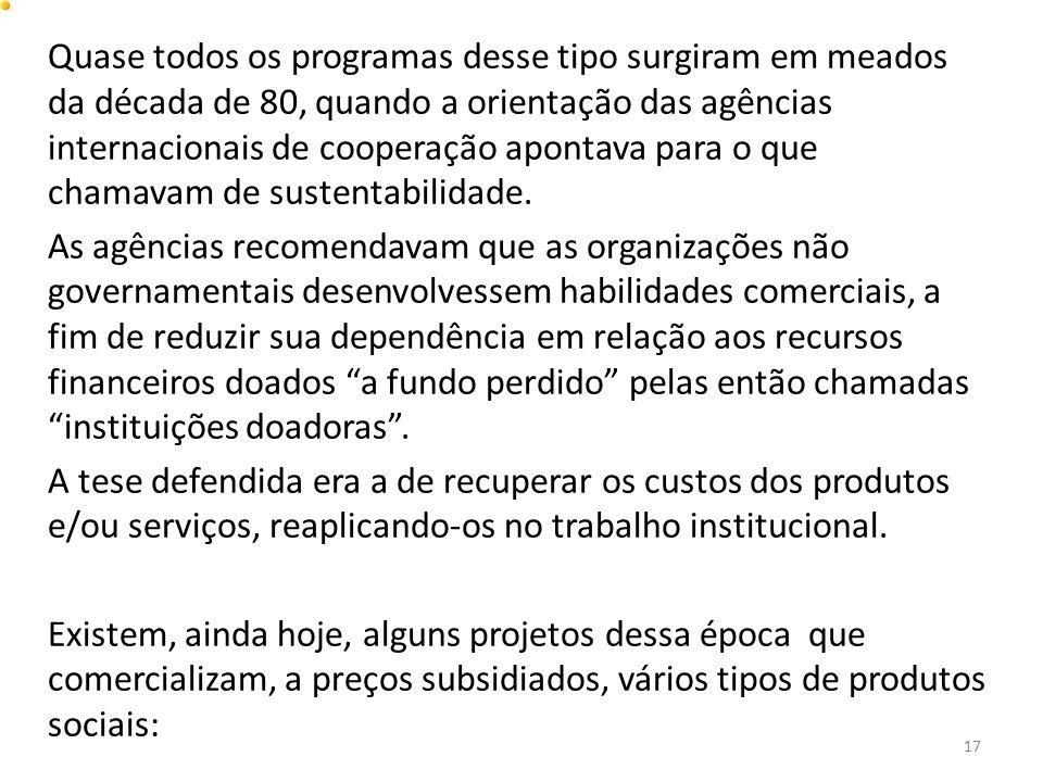 Quase todos os programas desse tipo surgiram em meados da década de 80, quando a orientação das agências internacionais de cooperação apontava para o