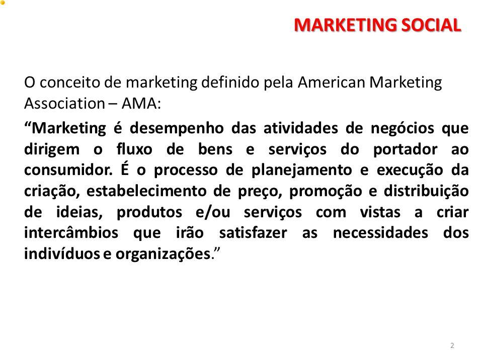 o marketing social e o marketing de negócios: KOTLER aponta três diferenças principais entre o marketing social e o marketing de negócios: · · Os especialistas de marketing de negócios procuram preencher as necessidades e os desejos identificados dos mercados-alvos; os especialistas de marketing social tentam modificar as atitudes ou o comportamento dos mercados – alvos; · · os especialistas de marketing de negócios sentem que seu alvo principal é obter lucro, servindo aos interesses do mercado-alvo ou da sociedade; os especialistas de marketing social procuram servir aos interesses do mercado-alvo ou da sociedade, sem lucro pessoal; · · os especialistas de marketing de negócios levam ao mercado os produtos e serviços, por intermédio de veículos de ideias, os especialistas de marketing social levam as ideias ao mercado, em lugar dos produtos e serviços. 13