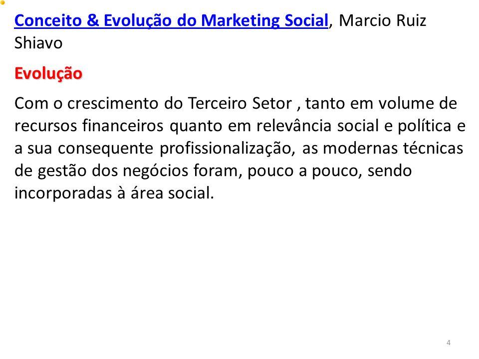 Conceito & Evolução do Marketing SocialConceito & Evolução do Marketing Social, Marcio Ruiz ShiavoEvolução Com o crescimento do Terceiro Setor, tanto