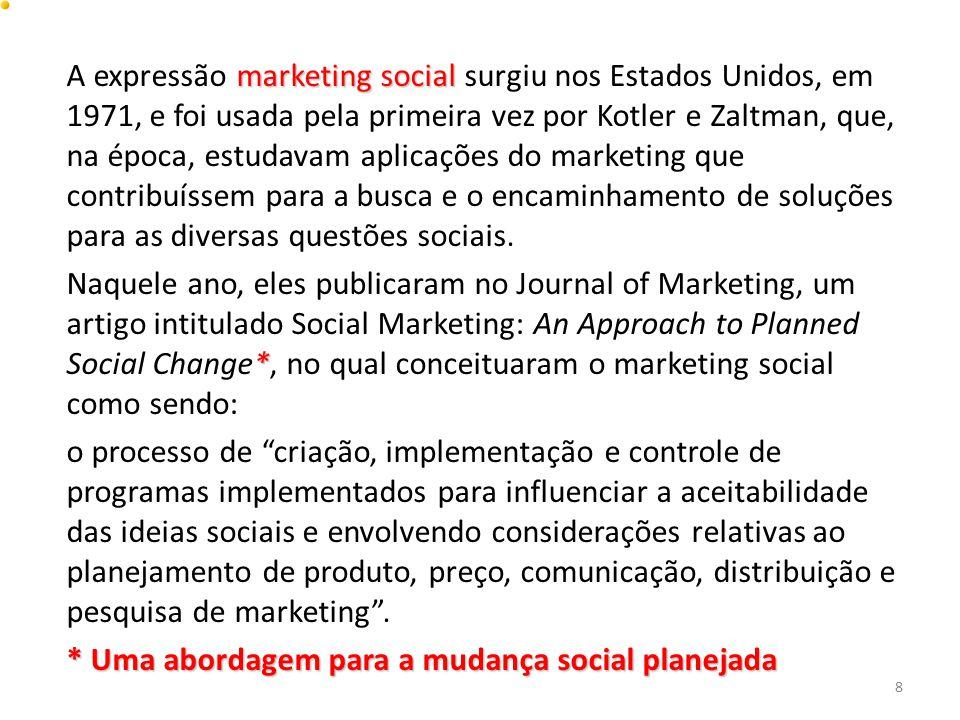 marketing social A expressão marketing social surgiu nos Estados Unidos, em 1971, e foi usada pela primeira vez por Kotler e Zaltman, que, na época, e