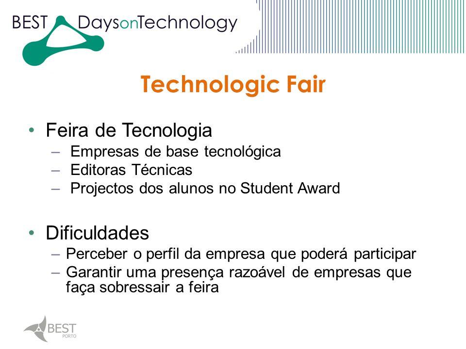 Technologic Fair Feira de Tecnologia – Empresas de base tecnológica – Editoras Técnicas – Projectos dos alunos no Student Award Dificuldades –Perceber