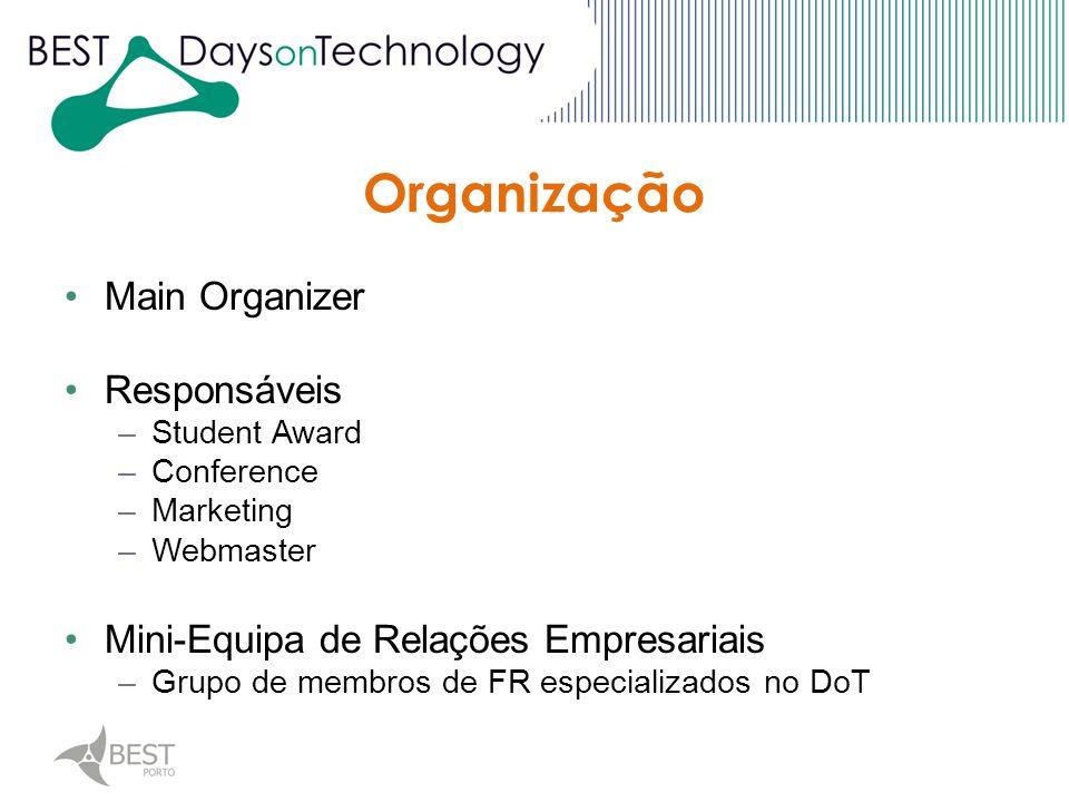 Main Organizer Responsáveis –Student Award –Conference –Marketing –Webmaster Mini-Equipa de Relações Empresariais –Grupo de membros de FR especializados no DoT