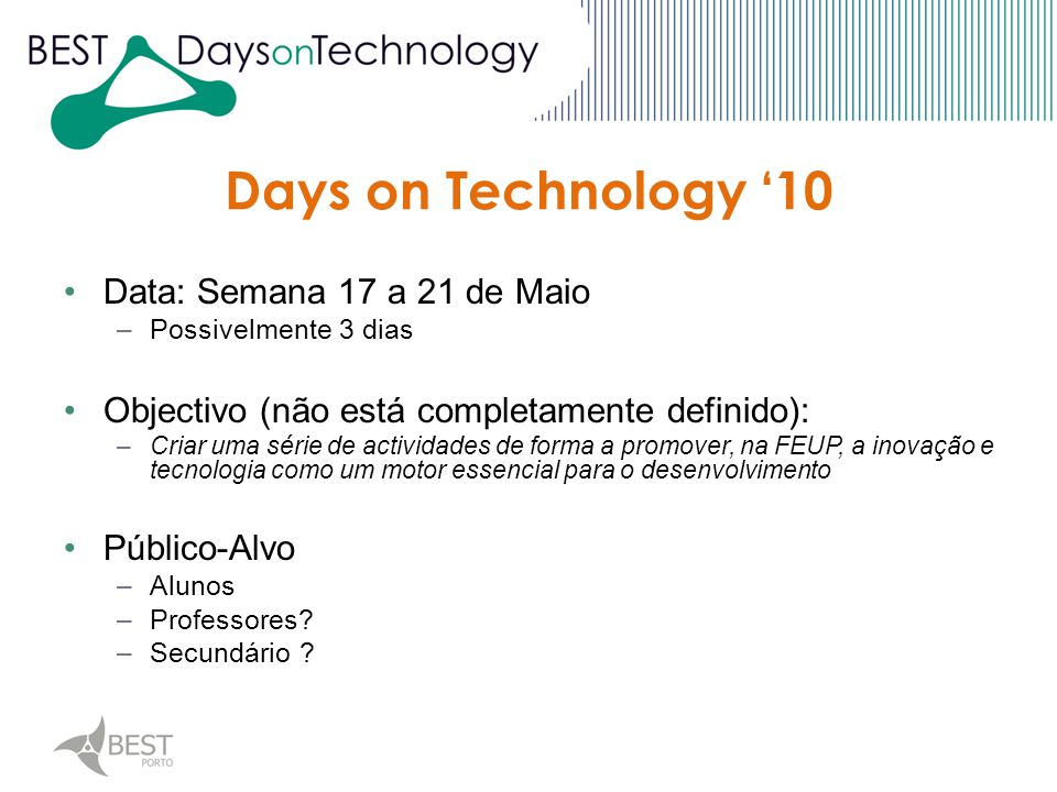 Days on Technology '10 DoT '10 Student Award Technologic Fair Conferences