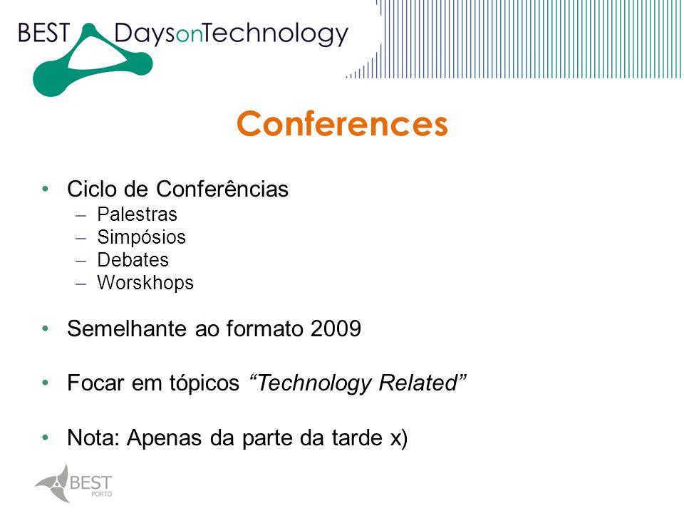 Ciclo de Conferências –Palestras –Simpósios –Debates –Worskhops Semelhante ao formato 2009 Focar em tópicos Technology Related Nota: Apenas da parte da tarde x)