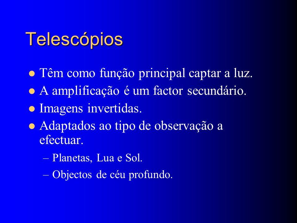 Telescópios Têm como função principal captar a luz.