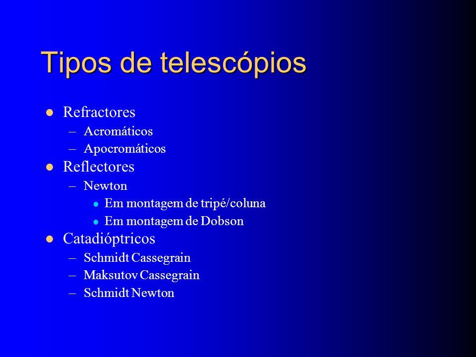 Tipos de telescópios Refractores –Acromáticos –Apocromáticos Reflectores –Newton Em montagem de tripé/coluna Em montagem de Dobson Catadióptricos –Schmidt Cassegrain –Maksutov Cassegrain –Schmidt Newton