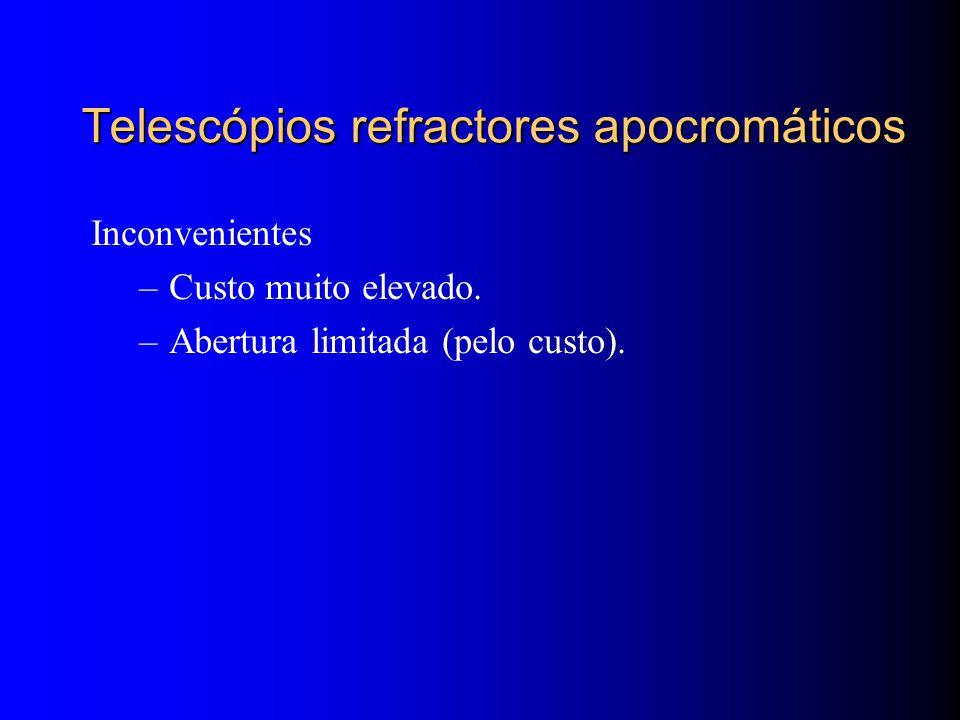 Telescópios refractores apocromáticos Inconvenientes –Custo muito elevado.