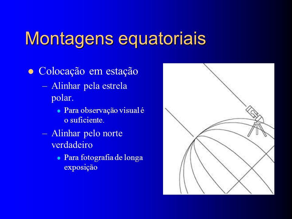 Montagens equatoriais Colocação em estação –Alinhar pela estrela polar.