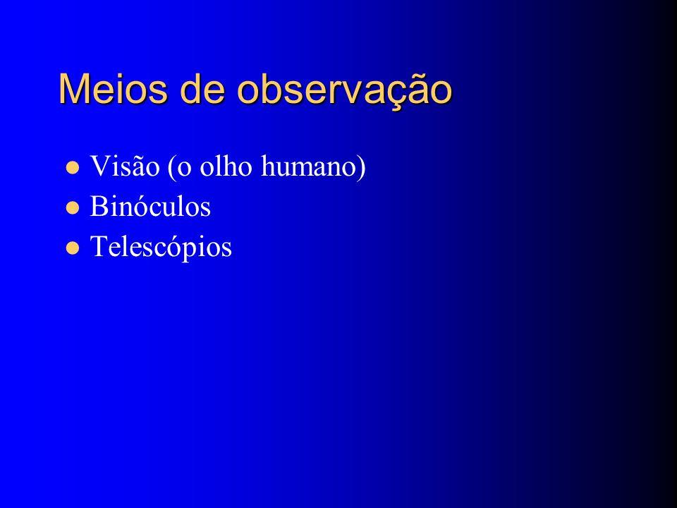 Meios de observação Visão (o olho humano) Binóculos Telescópios