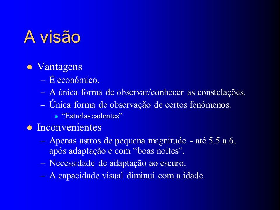 A visão Vantagens –É económico. –A única forma de observar/conhecer as constelações.