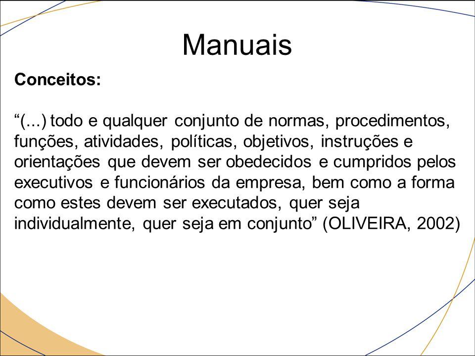"""Manuais Conceitos: """"(...) todo e qualquer conjunto de normas, procedimentos, funções, atividades, políticas, objetivos, instruções e orientações que d"""