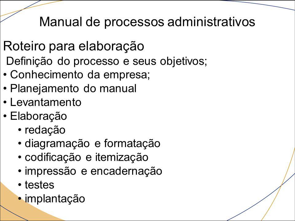 Manual de processos administrativos Roteiro para elaboração Definição do processo e seus objetivos; Conhecimento da empresa; Planejamento do manual Le