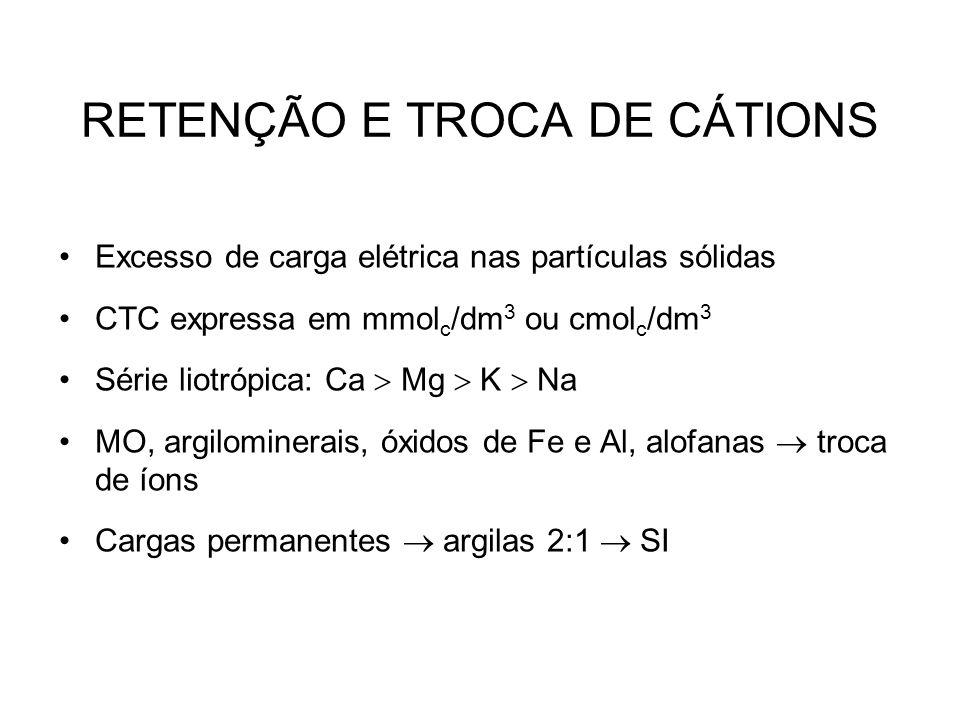 RETENÇÃO E TROCA DE CÁTIONS Excesso de carga elétrica nas partículas sólidas CTC expressa em mmol c /dm 3 ou cmol c /dm 3 Série liotrópica: Ca  Mg 
