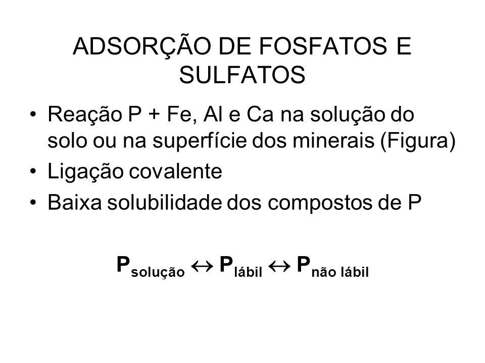 ADSORÇÃO DE FOSFATOS E SULFATOS Reação P + Fe, Al e Ca na solução do solo ou na superfície dos minerais (Figura) Ligação covalente Baixa solubilidade