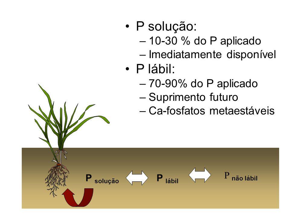 P solução: –10-30 % do P aplicado –Imediatamente disponível P lábil: –70-90% do P aplicado –Suprimento futuro –Ca-fosfatos metaestáveis P solução P lá