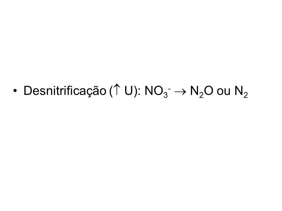 Desnitrificação (  U): NO 3 -  N 2 O ou N 2