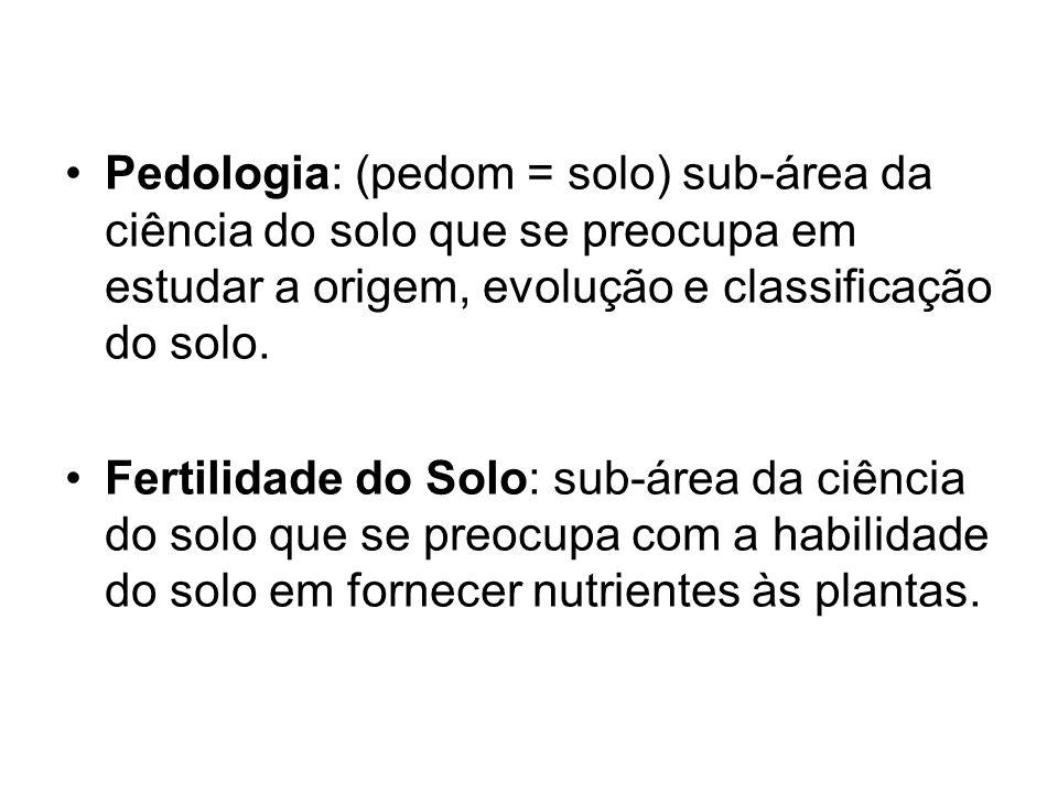 Pedologia: (pedom = solo) sub-área da ciência do solo que se preocupa em estudar a origem, evolução e classificação do solo. Fertilidade do Solo: sub-