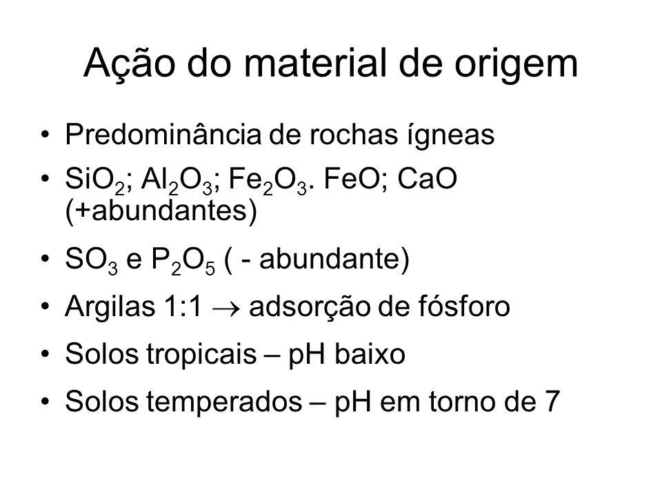 Ação do material de origem Predominância de rochas ígneas SiO 2 ; Al 2 O 3 ; Fe 2 O 3. FeO; CaO (+abundantes) SO 3 e P 2 O 5 ( - abundante) Argilas 1: