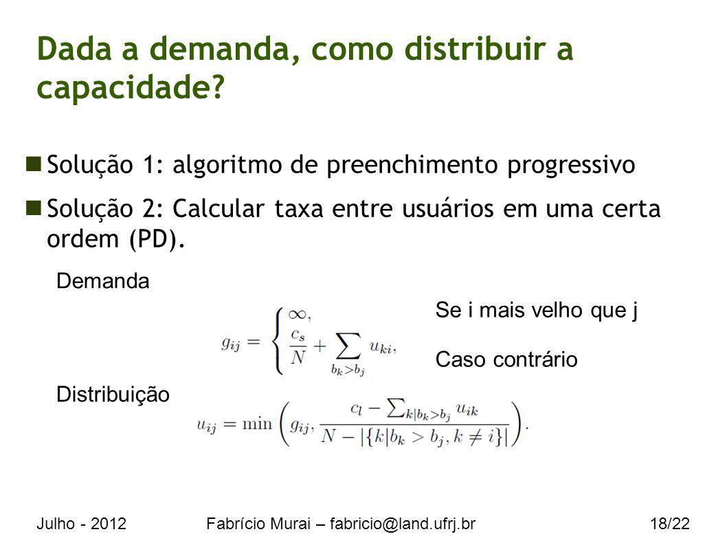 Julho - 2012Fabrício Murai – fabricio@land.ufrj.br18/22 Dada a demanda, como distribuir a capacidade.