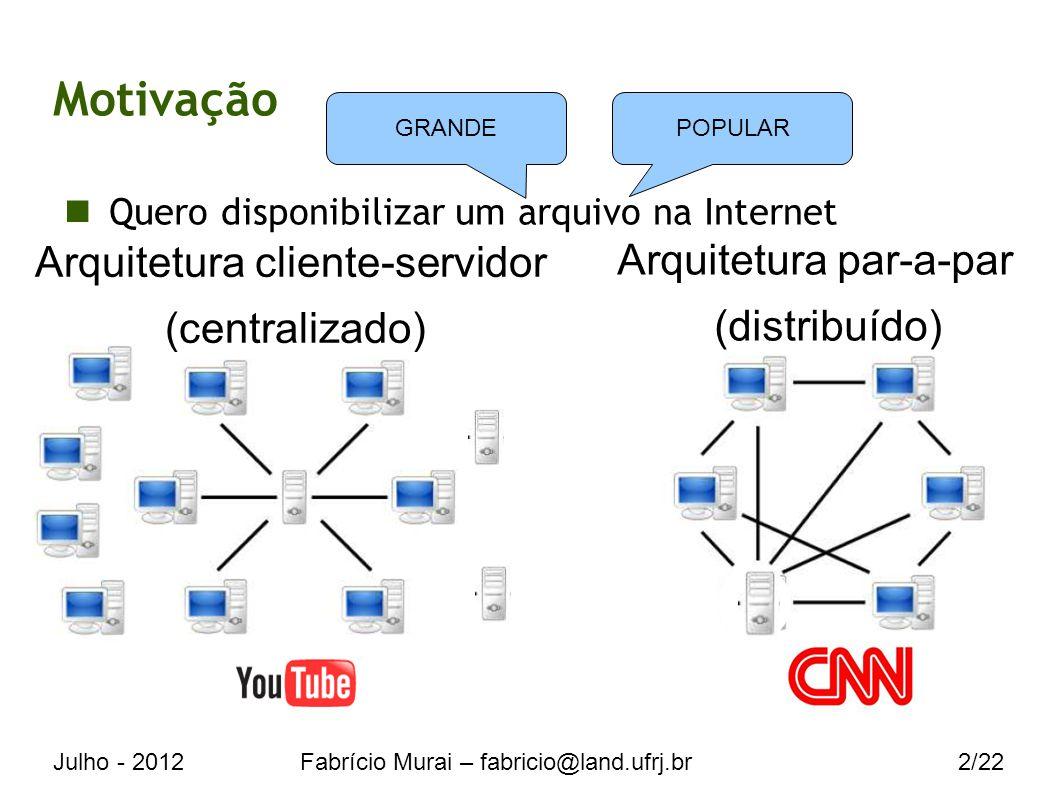 Julho - 2012Fabrício Murai – fabricio@land.ufrj.br2/22 Motivação Quero disponibilizar um arquivo na Internet Arquitetura cliente-servidor (centralizado) Arquitetura par-a-par (distribuído) GRANDEPOPULAR