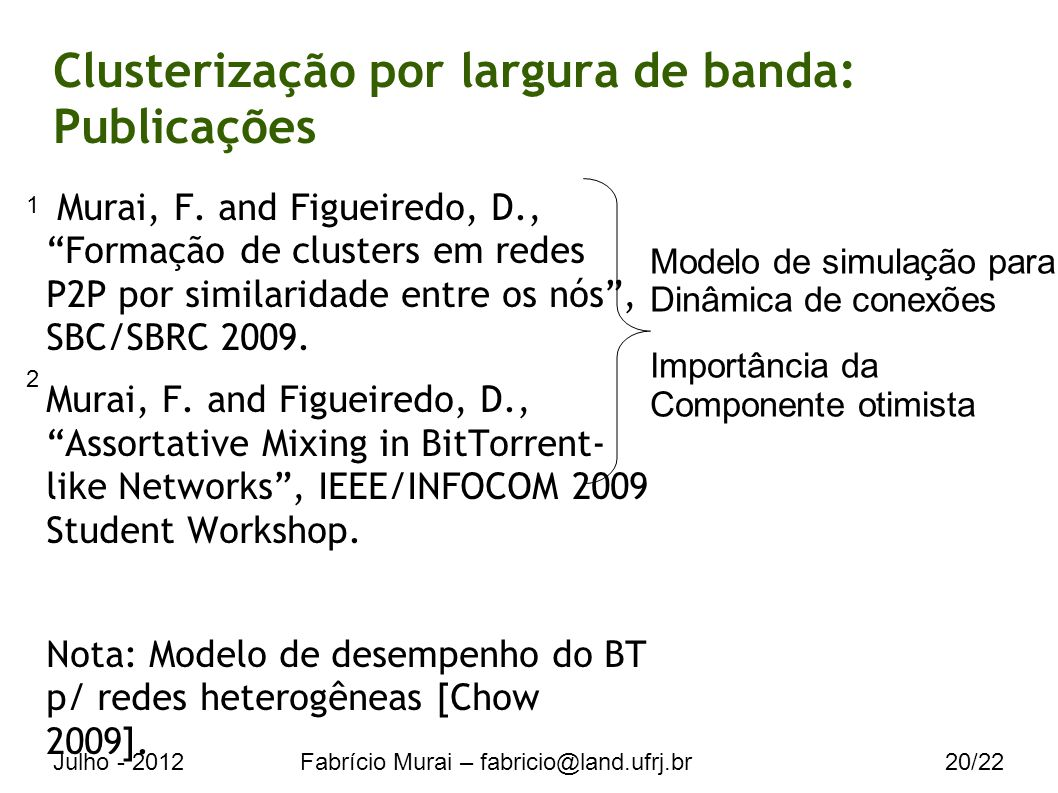 Julho - 2012Fabrício Murai – fabricio@land.ufrj.br20/22 Clusterização por largura de banda: Publicações Murai, F.